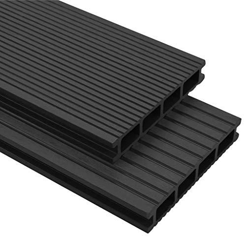 Lechnical Decking in WPC con accesorios decking Revestimiento del suelo del balcón Click System decking baldosa 36 m² 2,2 m Antracita