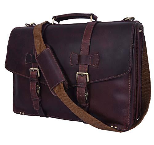 Addey Supply Company 17' Leather Briefcase Satchel Bag 17 X 5 X 12 inch Walnut