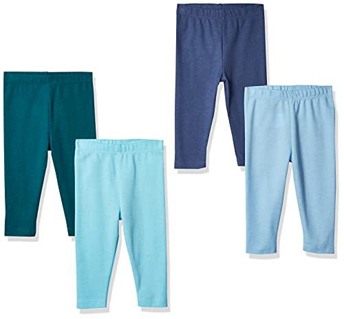 Hanes Ultimate Baby Flexy 4 Pack Knit Pants, Blue, 0-6 Months