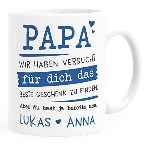 SpecialMe® Tasse personalisiertes Geschenk Spruch Papa/Mama Wir habe versucht für dich das beste Geschenk zu finden. anpassbare Namen Papa 2 weiß Keramik-Tasse