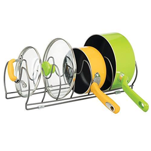 mDesign égouttoir pour casseroles, poêles et couvercles – grand range-couvercle pour ranger ustensiles de cuisine – porte-couvercle peu encombrant – couleur graphite