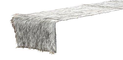 Tischband Fell Polyester grau 120x20 cm, Tischdeko, Tischfell, Tischdecke, Winter