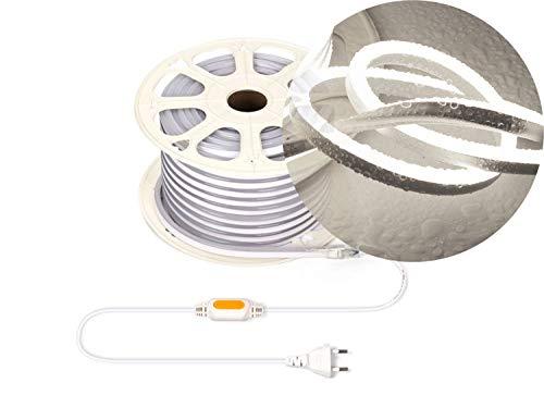 Ogeled 1-50m Neon LED Strip Warmweiß Neutralweiß Kaltweiß ohne Lichtpunkte Wasserfest Innen/Außen 230V Dimmbar (Kaltweiß, 3m)