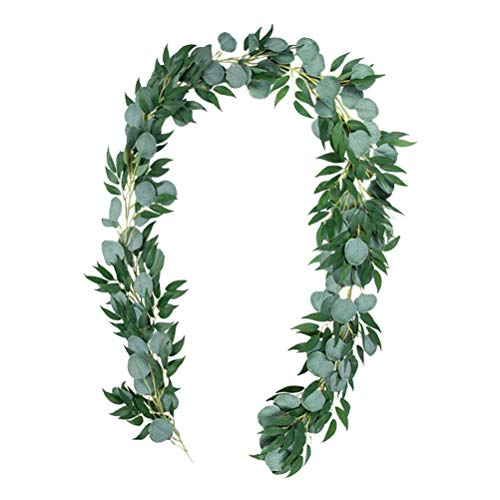 kuou Artificial Eucalyptus Garland, 6.5ft Faux Silk Eucalyptus Vines Handmade Greenery Leaves Garland for Wedding Party Decorations