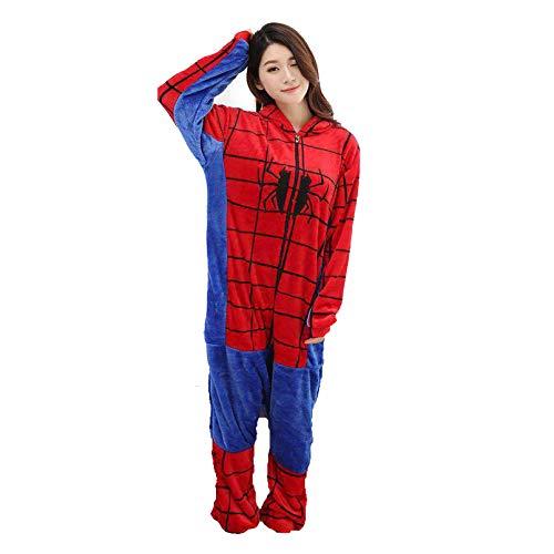 LINLIN Superheld Spider-Man Jumpsuits Kinder Kleinkind-Startseite Wear Super Soft Cosplay Nachtwäsche-Geburtstags-Party-Pyjamas,Red- Adult/157~165cm