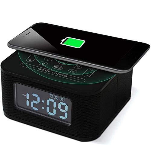 WYZQ Altavoz Bluetooth Digital NFC Qi Cargador inalámbrico Snooze Despertador Termómetro Control táctil Compatible para iPhone y Android Manos Libres