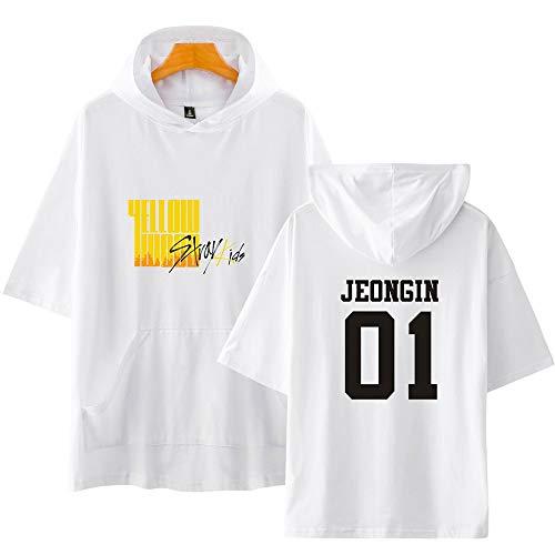 KPOP Stray Kids Camiseta con Capucha de Manga Corta Yellow Wood Impresión Hoodies T Shirts de Verano tee Algodón Bang Chan Changbin Hyunjin Felix Seungmin Jeongin Jisung Minho Woojin