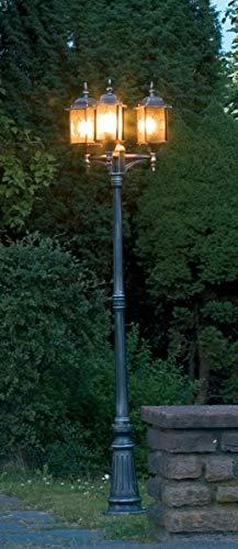 Konstsmide Milano 7244-759 Standleuchte / B: 57cm T: 57cm H: 230cm / 3x75W / IP43 / lackiertes Aluminium / schwarz/silber