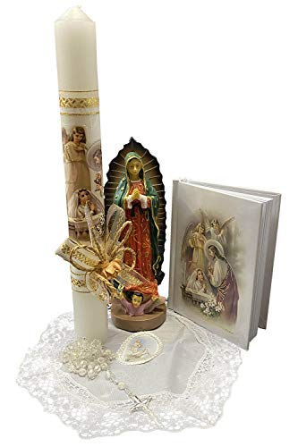 Lito First Communion Candle Set for Girls - White Candle Set Kit for Holy 1st Communion with Figurine - Spanish