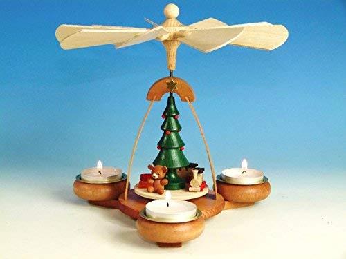 Tischpyramide Teelichtpyramide birnbaum mit Bescherung farbig für 3 Teelichte, Höhe 19 cm NEU Pyramide Erzgebirge