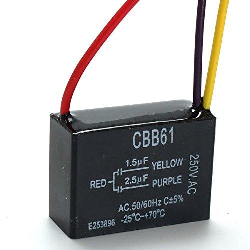 YALIXING JJBHD Electronic Accessoires & Supplies CBB61 1.5UF + 2.5UF 3 Draht 250VAC Deckenventilator-Kondensator 3 Drähte Um Ihnen die Qualität der Exzellenz bereitzustelle