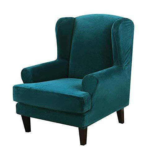 R&P 2 Piezas Funda de Sillón Orejero Terciopelo Funda para Sillon Relax Elástica Cubre Cubierta Butaca Sofa 1 Plaza,Dark Green
