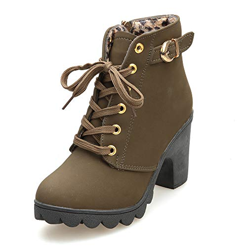 Aniywn Ankle Boots,Women Winter Chunky High Heels Boots Fall Combat Lace Up Booties Platform Shoes(Army Green,36)