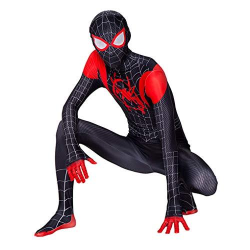 LINLIN Spiderman Miles Morales Maske Bodysuit Schwarzer Spiderman Jumpsuit Zentai 3D-gedruckte Superhelden Halloween Cosplay Kostüme für Männer Kinder,Black-Adult L(175~185cm)