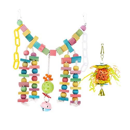 TEHAUX Jaula para colgar - 2 piezas colorido loro masticando madera tronco pájaro juguete jaula accesorios flexible mordedura cadena colgante de madera para loros