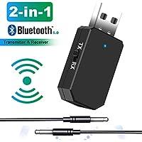 Tokenhigh Adaptador Bluetooth 5.0, 2-en-1 Receptor Bluetooth y Transmisor Bluetooth, con Audio Inalámbrico 3.5MM Cable, para TV y PC, Audio del Automóvil