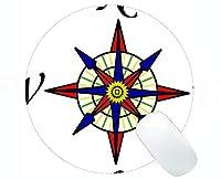 地図の独特な注文の円形のマウスパッドのマウスパッド、ステッチされた端が付いている着色され、スケッチされたコンパスのコンパス円形のマウスパッド