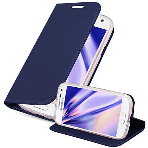 Cadorabo Hülle für Samsung Galaxy S4 Mini in Classy DUNKEL BLAU - Handyhülle mit Magnetverschluss, Standfunktion & Kartenfach - Hülle Cover Schutzhülle Etui Tasche Book Klapp Style