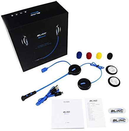 Blinc BL100 Bluetooth Headset Integrated Communication Module With Remote Add On for All Motorcycle Helmet