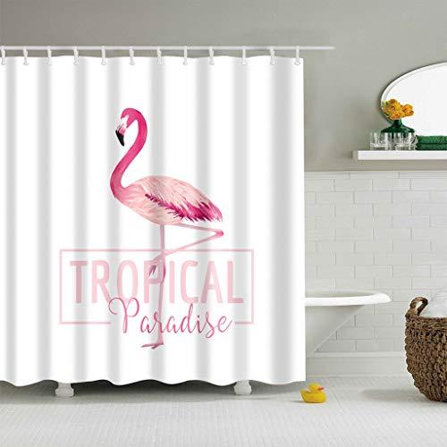 XCBN Baño de Flamenco en 3D Rosa Individual, Cabina de Ducha Grande, Cortina de Ducha a Prueba de Agua y Moho, baño A4 180x180cm