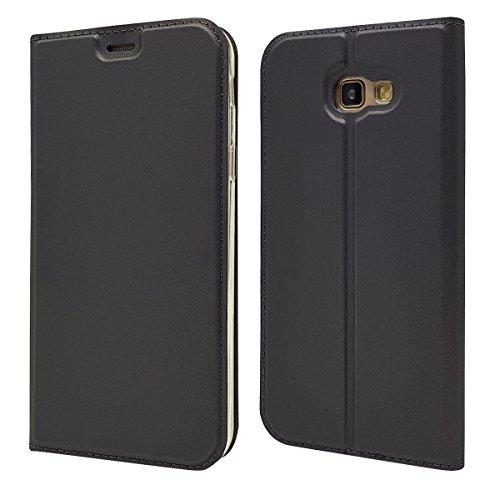 Copmob Funda Samsung Galaxy A7 2017,Ultradelgado Flip Libro Funda de Cuero PU,[Cierre Magnético][1 Ranura][Función de Soporte],Carcasa Case para Samsung Galaxy A7 2017 - Negro