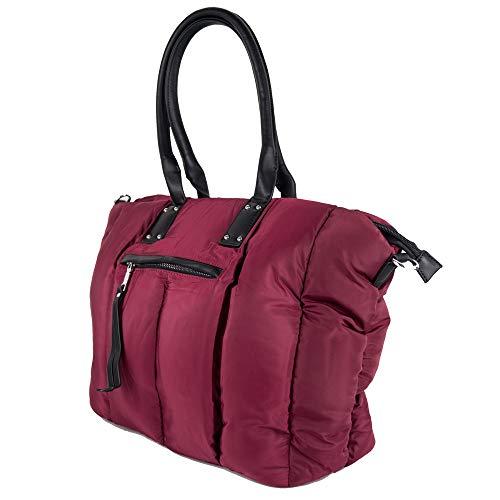 Borsa piumino rosso scuro donna trapuntata grande capiente imbottita da signora con tracolla zip a spalla shopping bag giornaliera tutti i giorni sera invernale autunno inverno 2020 2021 Bordeaux
