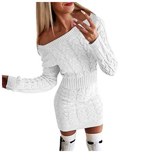 Kanpola Schulterfrei Pulloverkleid Damen Langarm Grobstrickkleid Winter Figurbetontes Enge Kleider mit Zopfmuster, Elegante Warme Pullover Einfarbig Party Minikleid BeiläUfige Longpullover