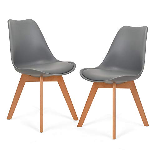 Mingone 2er Set Schwarz polsterstühle eßzimmer kein recycelter Kunststoff Stühle Massivholzbeine (Grau)