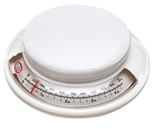 Dr. Oetker Backwaage Ø 17 cm, analoge Haushaltswaage, Waage für präzises Abwiegen, Küchenwaage mit Zuwiegefunktion (Farbe: weiß)