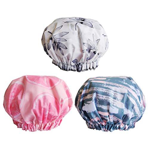 EXCEART 3 Pcs Chapeaux de Douche Imperméable Double Couche Bonnets de Bain Spa Chapeaux Sommeil Bonnet Casquettes pour Femmes Dame (Feuilles Motif de Tranche de Citron)