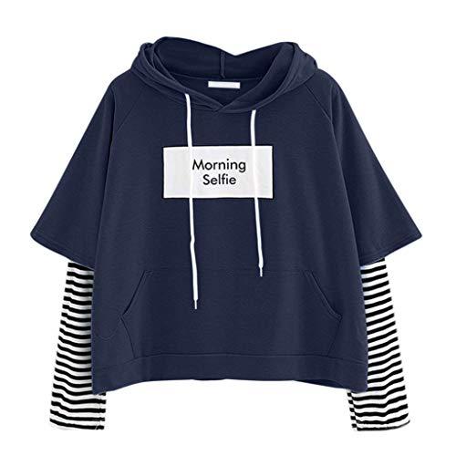 ReooLy Damen Damen-Sweatshirt mit Kapuze langärmliges Crop Patchwork gestreiftes Sweatshirt-Shirt Spitze Pullover(Marine/Large)