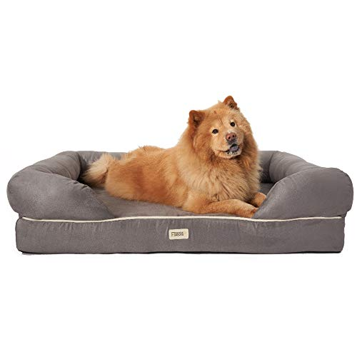 Friends Forever Orthopedic Dog Bed Lounge Sofa Removable Cover 100% Suede 4' Mattress Memory-Foam Premium Prestige Edition 40' x 50' x 13' Pewter Grey XXL