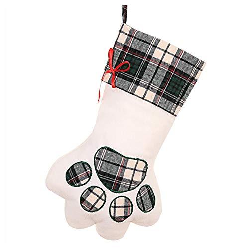 Kerstman-middenvoet-zak van Schottenstof met pootafdruk voor honden en katten, om op te hangen, schattige sokken, voor Kerstmis, decoratie