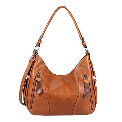 OBC Damen Tasche Shopper Tote Bag Handtasche Umhängetasche Schultertasche Beuteltasche Leder Optik Hobo Crossbody Cognac