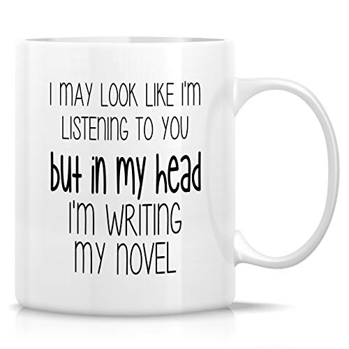 Retreez Funny Mug - In My Head I'm Writing Novel Writer Book Author Literary 11 Oz Ceramic Coffee Mugs - Funny, Sarcastic, Motivational, Inspirational birthday gifts for friends, coworkers, dad, mom