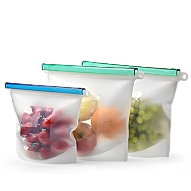 Reusable Silicone Food Storage Bag Set of 3 - LARGE SIZE 50 OZ - Airtight Zip Seal Bags Keep Your Food Fresh. Bag For Cooking, Sous Vide, Lunch, Snack, Sandwich, Freezer. Kiva.World (50+30 OZ, Clear)