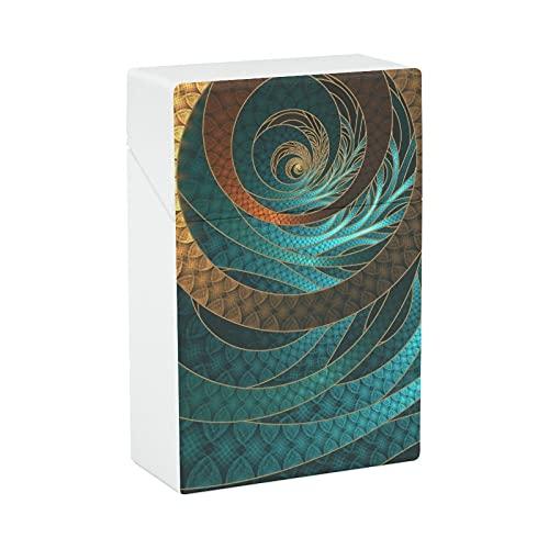 Hermosa funda de cuero con cordón turquesa fractal brazaletes cigarrillo portátil titular de cigarrillo ligero caja de transporte para hombres y mujeres