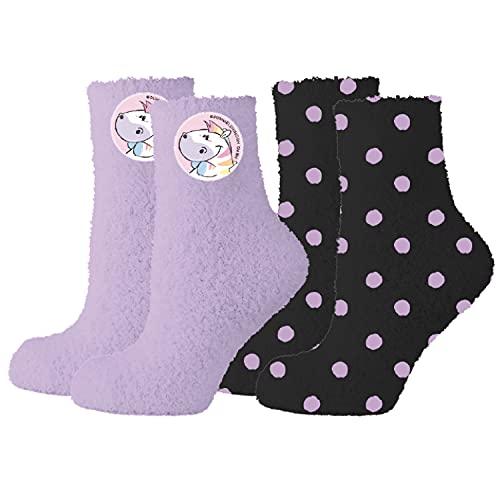 United Labels Pummeleinhorn Socken 2er Pack für Mädchen und Damen, Lila Schwarz, Kuschelsocken (35/38)