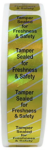 Food Delivery Tamper Evident Labels for Freshness and Safety 0.75 x 3.5 Inch 500 Total Adhesive Stickers