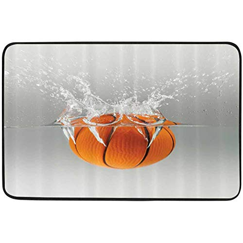 YUAZHOQI Sports Decor Collection Door mat, Falling Basketball Into Water Leisure National Sport Activity Entertaining Image, W19.7 x L31.5 Inch Resist Dirt Rugs for Entrance, Orange Gray