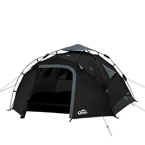 TTYUIO Sekundenzelt Quick Pine 3, Campingzelt, Quick Up System,Schwarz