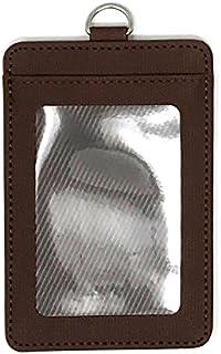 حامل بطاقة تعريف الهوية من الجلد الصناعي المتين الفاخر من WigsPedia مع نافذة لبطاقة الهوية الشخصية وفتحة بطاقة واحدة (بني)