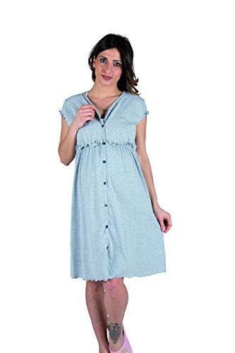 Premamy - Klinisches Shirt für Mutterschaft, offene Front Kleid, Zwei-Wege-Stretch-Baumwolle, prä-Post-Partum - Grau - VII (XXL)
