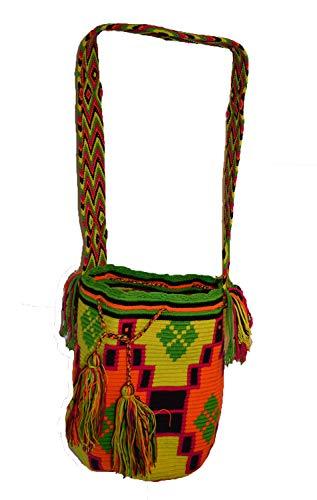 South American Wayuu-Umhängetasche, leuchtende Farben, buntes Gewebe, von Hand gehäkelt, Mochilla