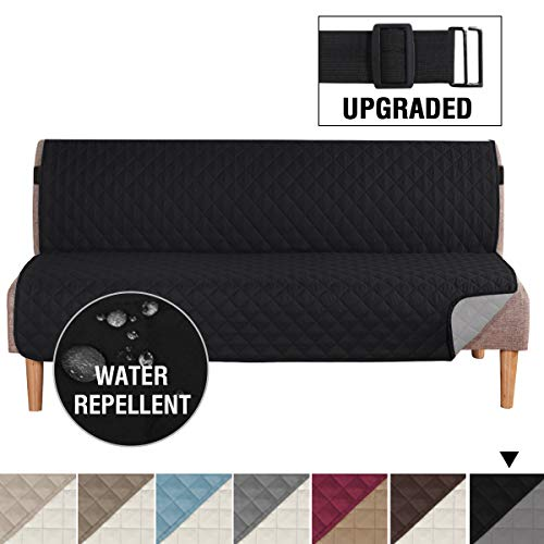 H.VERSAILTEX Reversible Sofa Slipcover Water Repellent Sofa Cover Couch Covers for Dogs Furniture Protector, 2 Inch Wide Elastic Straps Anti-Slip Couch Slipcover (Futon: Black/Grey)