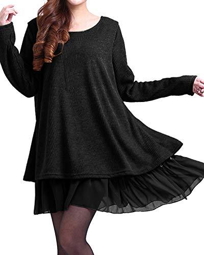 ZANZEA Donna Pizzo Maglione Maglia Maniche Lunghe Vestito Corto Elegante Casual Moda Pullover Camicia Autunno Inverno Black L