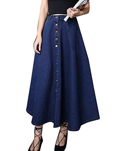 Mujer Vintage Cintura Alta Elegantes Largas Falda Vaquera Azul Oscuro XL