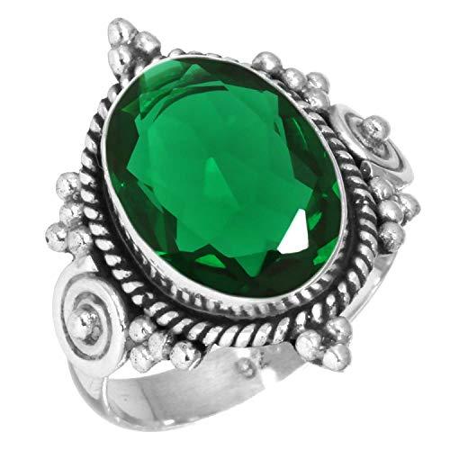Jeweloporium 925 Sterling Silber Ring Smaragd Simuliert Handgemacht Schmuck Größe 65 (20.7) (99016_EMD_R13)