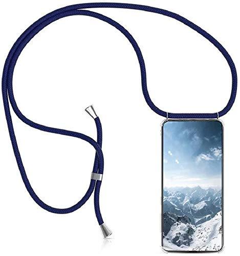 SIMao Funda con Cuerda para Huawei P10 Lite Funda con Cadena para Teléfono Móvil con Correa Ajustable Transparente TPU Silicona Carcasa con Collar de Cordón Funda con Cordón de Colgar,Azul
