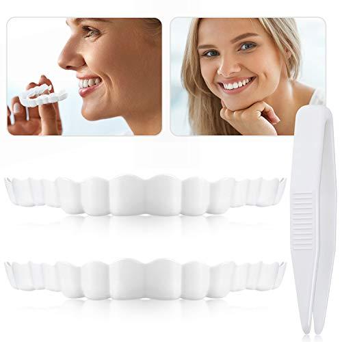 2 Stücke Sofortig Furniere Prothesen Gefälschte Zähne Lächeln Gezackte Prothesenzähne Spitze Gefälschte Zähne mit Mini Pinzette für Männer und Frauen